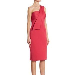 Nero Jatin Varma pink one shoulder lipstick dress